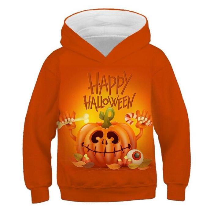 Baby Boy Cartoon Halloween Pumpkin 3D Print Girls Cute Hoodies Children'S Clothing Kids Holiday Autumn Pullovers Outfits