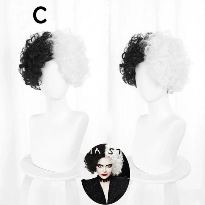 Halloween Cosplay Cruella De Vil Kuila Half Black Half A Hundred Small Short Curly Cos Wig Wig Caps For Making Wigs Danganronpa