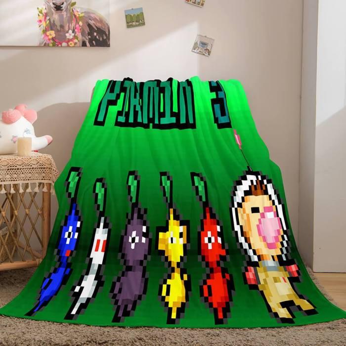 Pikmin Soft Flannel Fleece Throw Cosplay Blanket Comforter Bedding Set