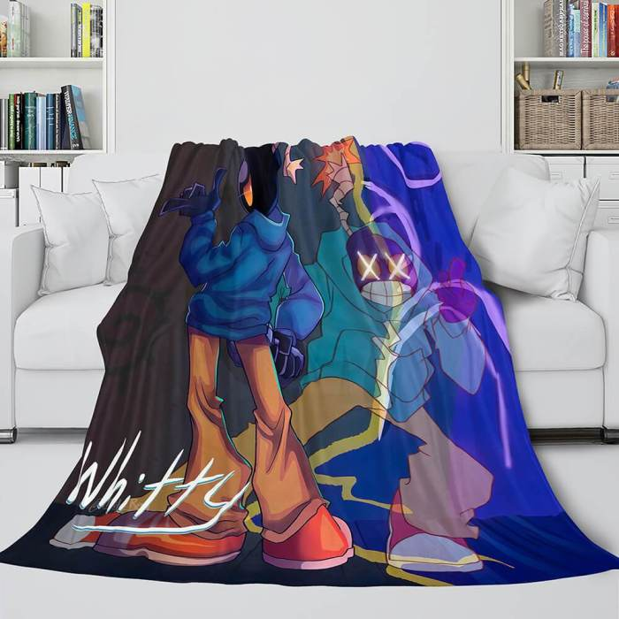 Friday Night Funkin Fnf Whitty Flannel Fleece Throw Cosplay Blanket