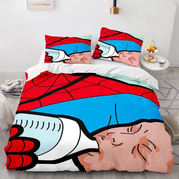 Spiderman Cosplay 3 Piece Comforter Bedding Set Duvet Cover Bed Sheets