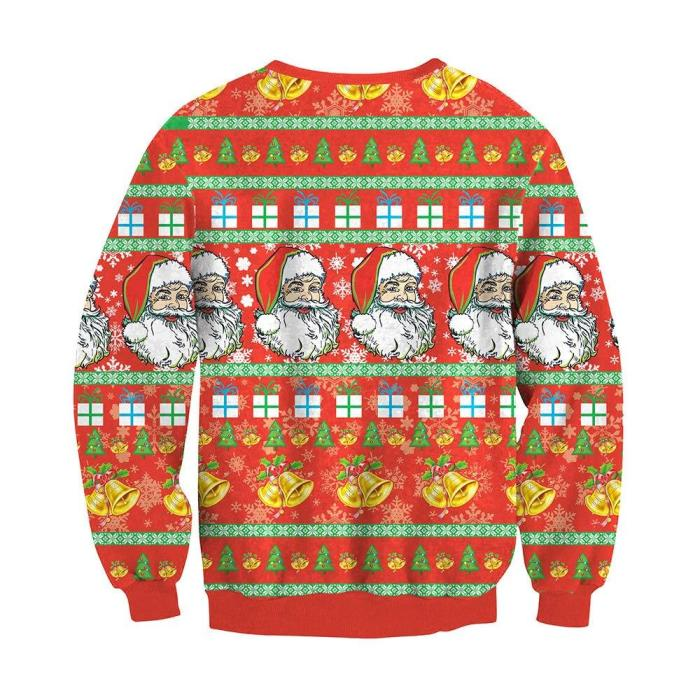 Ugly Christmas Sweater Santa Claus 3D Printing Round Neck Long Sleeve Casual Pullover
