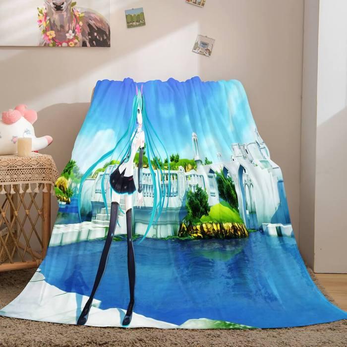 Hatsune Miku Cosplay Flannel Blanket Throw Soft Plush Bedding Sets