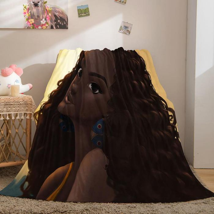Black African Girl Flannel Blanket Throw Blanket Comforter Bed Sets