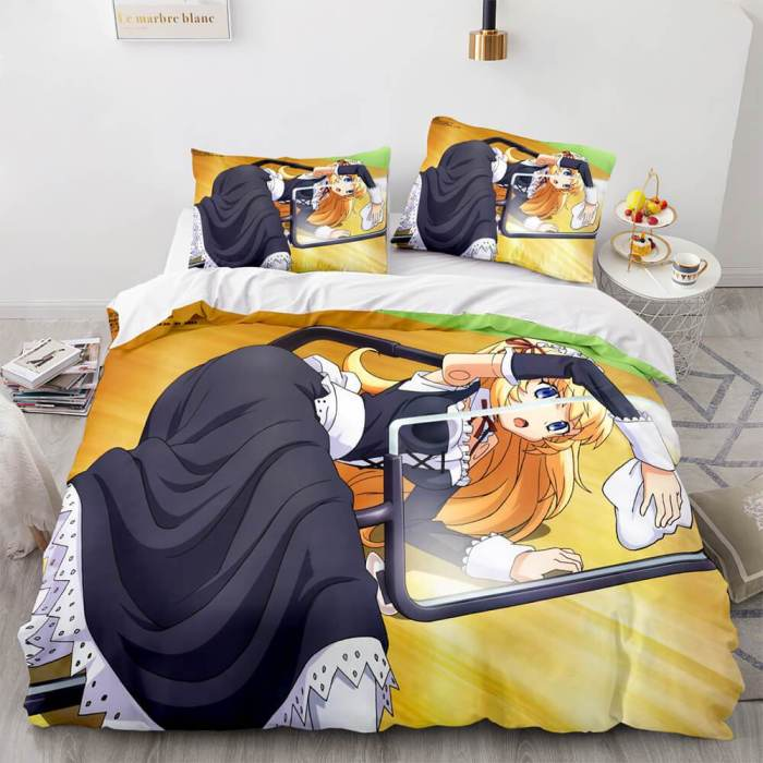 Japan Sexy Lady Maid Cosplay Bedding Set Quilt Duvet Covers Bed Sheets