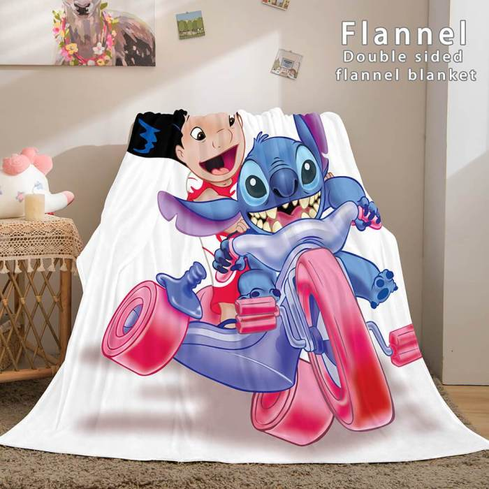 Stitch And Angel Flannel Blanket Cozy Bed Blankets Soft Throw Blanket