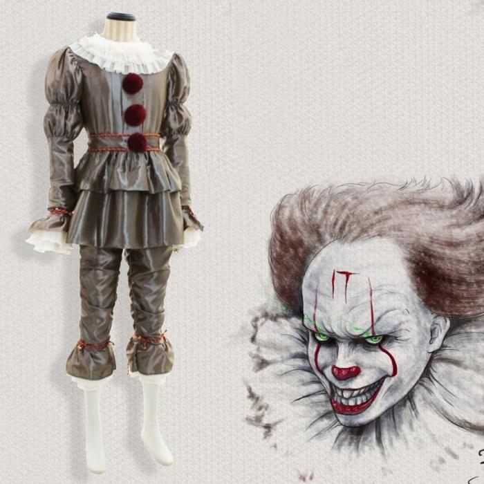 Pennywise Halloween Costume It Clown Adult Cosplay Costume Halloween Party Suit For Man And Female