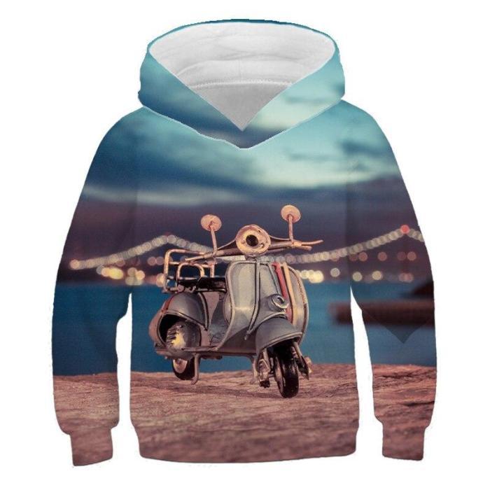 Children Harajuku Cartoon Little Car Bus Hoodies Funny Baby Clothes Boy/Girl 3D Hoodie Sweatshirts Kids Clothes