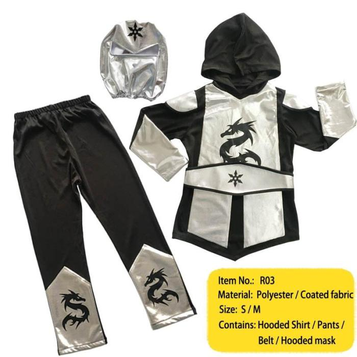 Ninja Costume Kids Gold Sliver Dragon Ninja Costume Hooded Shirt Pants Belt With Mask Carnival Costume
