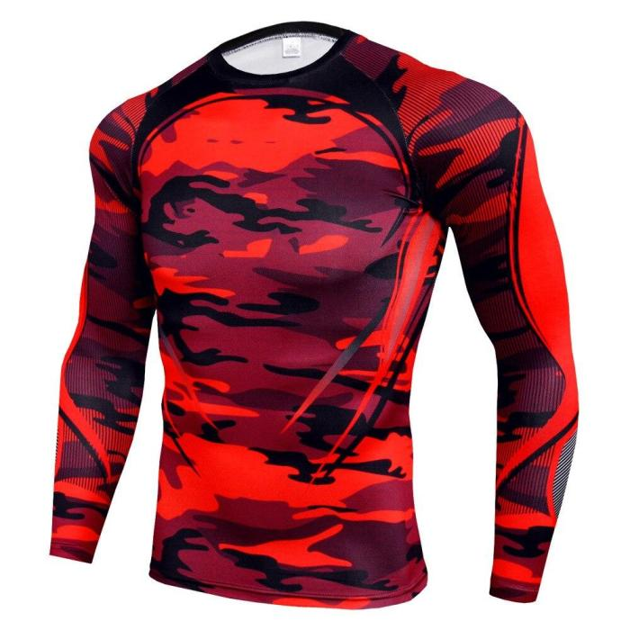 3D Printed T Shirts Men Compression Shirts Long Sleeve Training Tops Tees Gyms Fitness T-Shirt