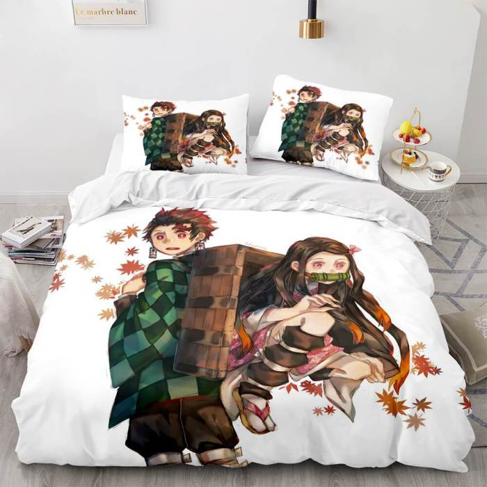 Anime Demon Slayer Cosplay 3 Piece Bedding Set Duvet Covers Bed Sheets