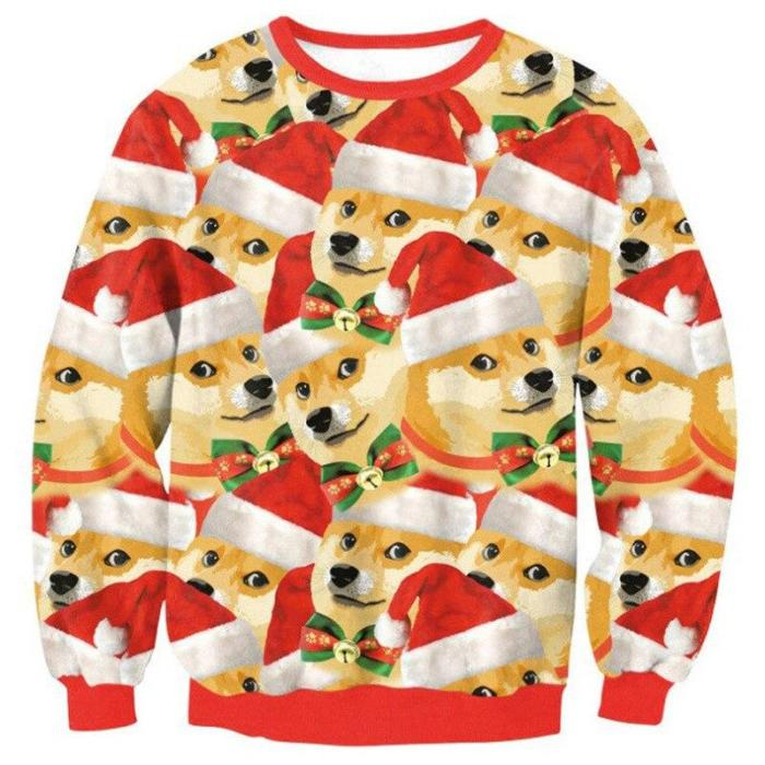 Ugly Christmas Sweater Novelty Funny Ugly Christmas Sweater Unisex Men Women 3D Printing Pullover Jumpers Oversized Warm Sweater