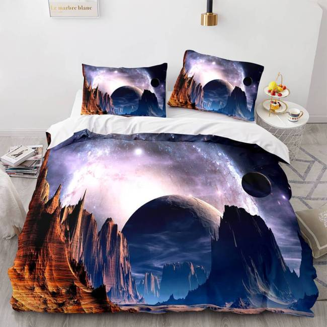 Universe Sky Outer Space 3 Piece Bedding Set Duvet Covers Bed Sheets