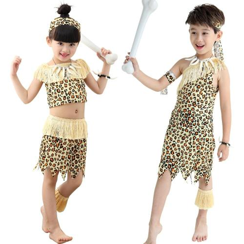 Halloween Children'S Wildling Costumes Fringed Savage Clothes Leopard Print Indian Primitive For Kid Girls Boys Dress