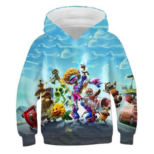 Plant Zombie 3D Printing Boys And Girls Sweatshirt, Custom Fashion, Leisure, Personality. Cartoon Children'S Hoodie