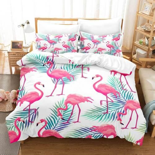 Cartoon Flamingo Bedding Set 3 Piece Duvet Covers Comforter Bed Sheets