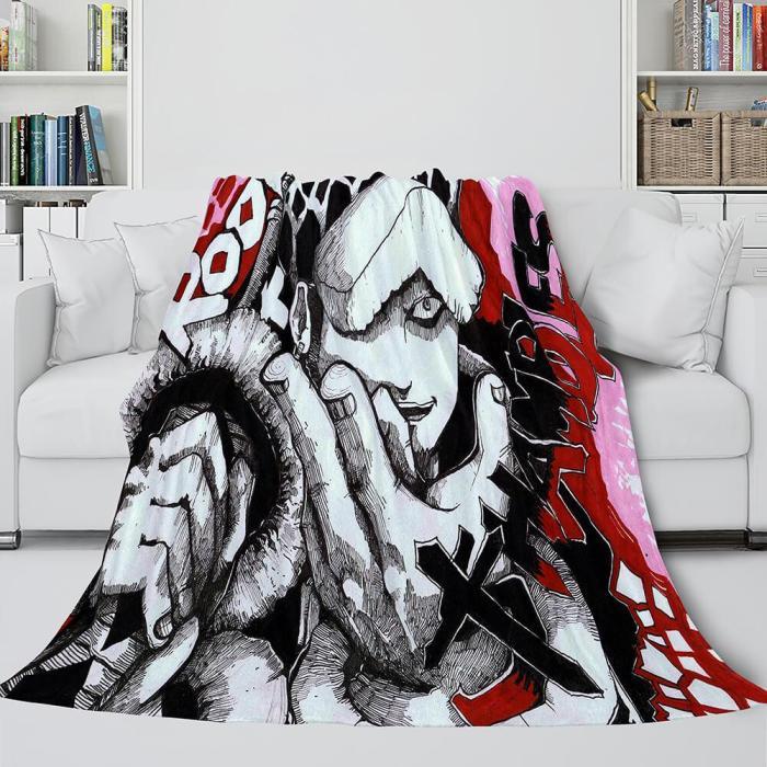Japanese Cartoon One Piece Throw Flannel Blanket Soft Cozy Bedding Use