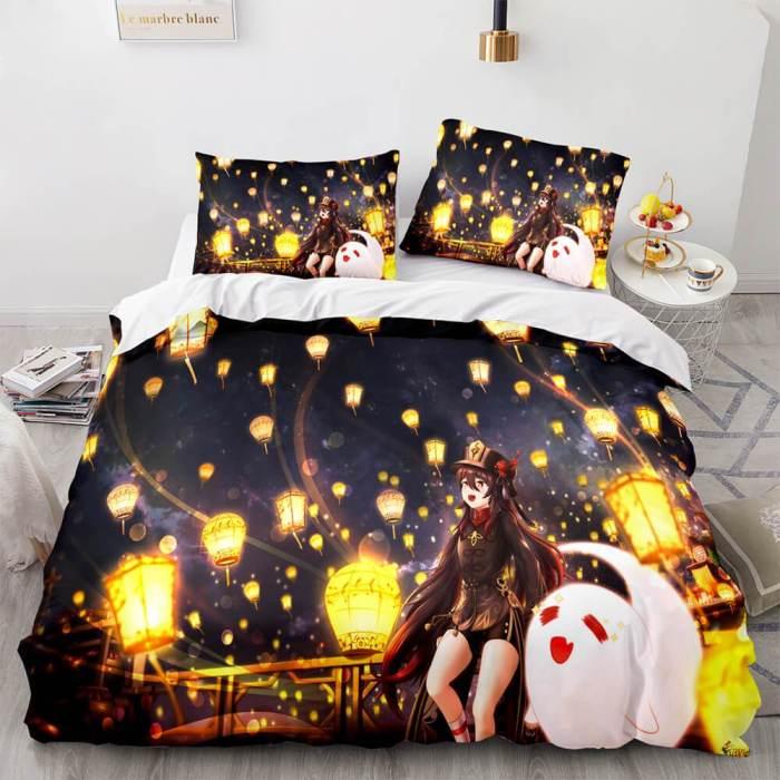 Genshin Impact Bedding Set Duvet Cover Comforter Bed Sheets