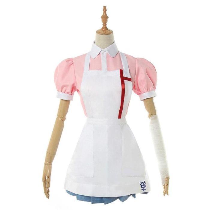 Anime Danganronpa 2 Cosplay Mikan Tsumiki Costume Pink Top Skirt  Woman Dress Maid Uniform Halloween Party Cosplay Costume