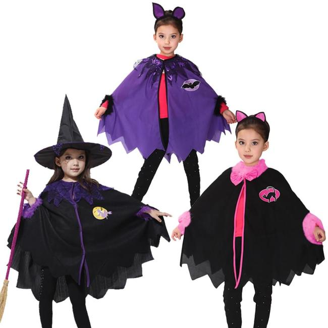 Halloween Witch Cloak Headwear Gown Robe Cosplay Costumes Coat Cloak Witch Hat Girl Party Costumes For Kid Chirstmas