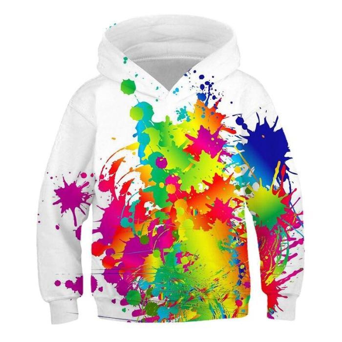 Children Hoodies Rainbow Paint Graffiti 3Dprint Game Sweatshirts Clothes 4-14T Kids Casual Pullover Boy Girl Long Sleeve Sweater