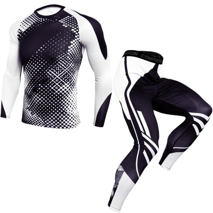 Fitness Training Tracksuit Compression Running Sets Men Joggers Sports Suits Quick Dry Gym Long T Shirt + Pants Sportswear