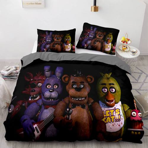 Five Nights At Freddy'S Cosplay 3-Piece Bedding Duvet Cover Set Sheets