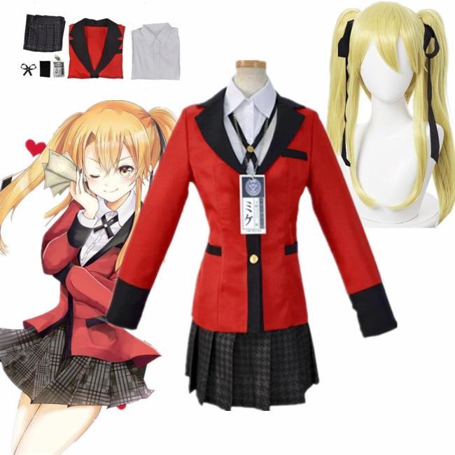 Anime Meari Saotome Kakegurui Compulsive Gambler Wigs School Uniforms Set Cosplay Costumes