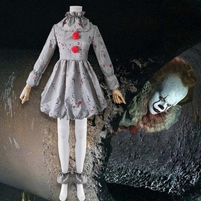 Stephen King'S It Pennywise Costume Joker Cosplay Dress Kids Clothes Horror Clown Collar Halloween Party For Boys And Girls