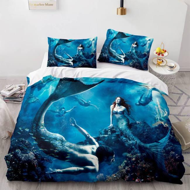 Mermaid Cosplay Bedding Set Full Duvet Cover Comforter Soft Bed Sheets