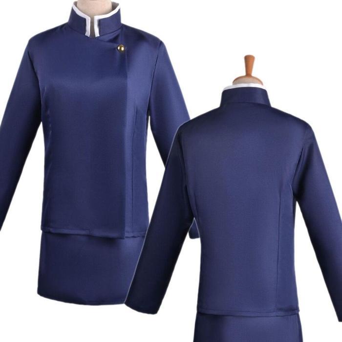 Anime Jujutsu Kaisen Zenin Maki Women Girls Uniform Blue Black Cosplay Costume