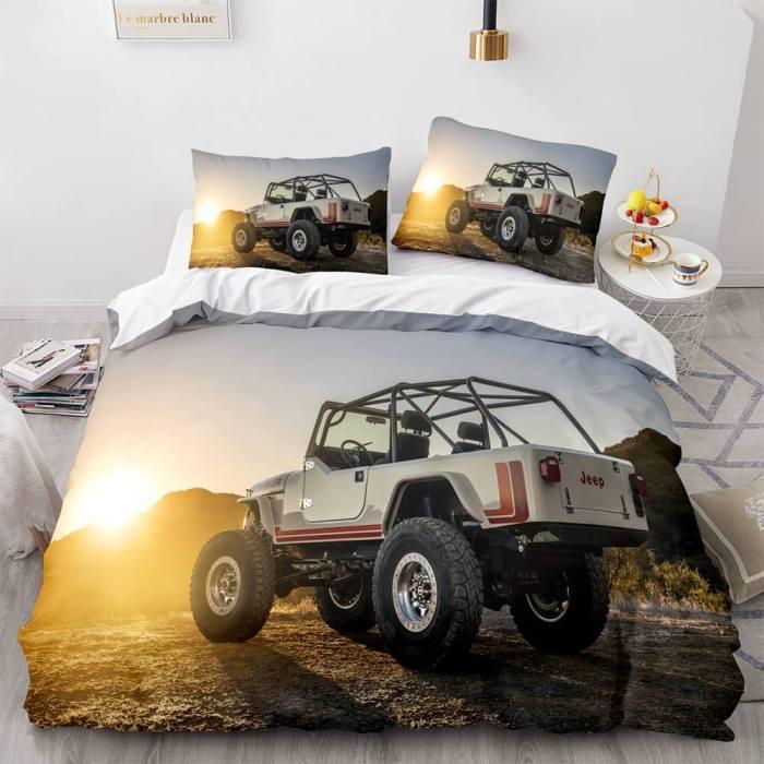 Jeep 4X4 Vehicle Off-Road Adventure Car Bedding Set Duvet Cover Sheets