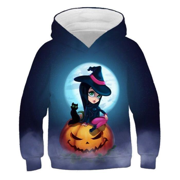 Hoodies Children Cartoon Halloween Pumpkin 3D Print Clothing Boys&Girls Festival Outfits Long Sleeve Pullovers Outwear Tops