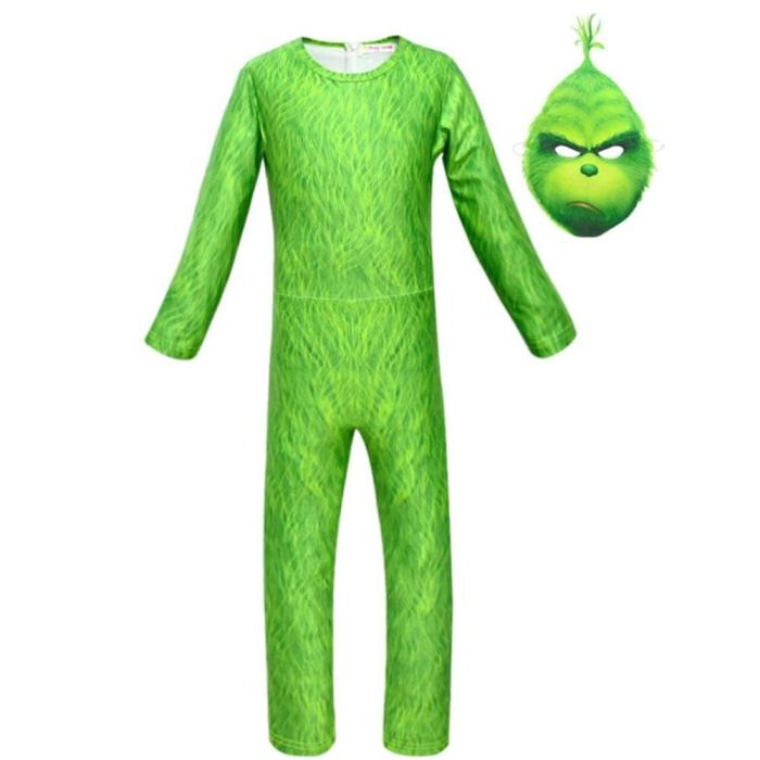 3Pcs Halloween Green The Thief Funny Christmas Costumes Set Boy Cosplay Clothes Mardi Gras Costume Party Boys Kid Clothing Set