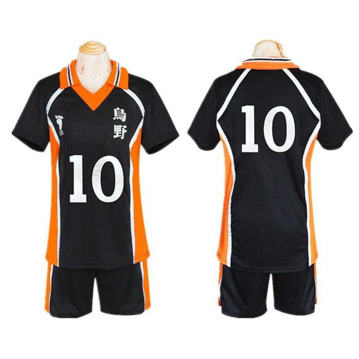 Anime Haikyuu Shoyo Hinata Karasuno Cosplay Costume High School No 10 Volleyball Jersey Short Sleeve Shorts Summer Clothes