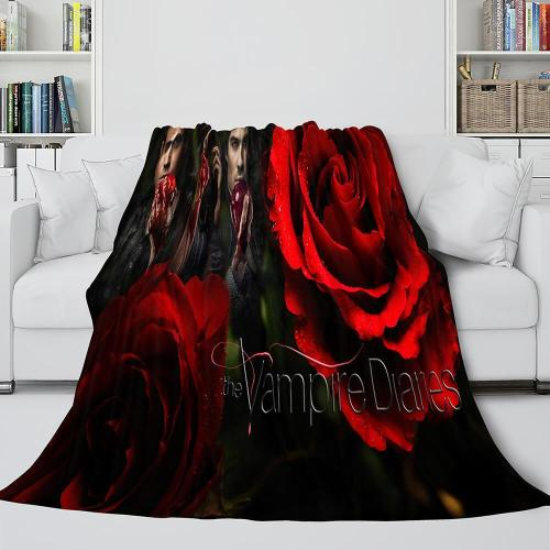 The Vampire Diaries Red Rose Cosplay Flannel Blanket Throw Bedding Sets