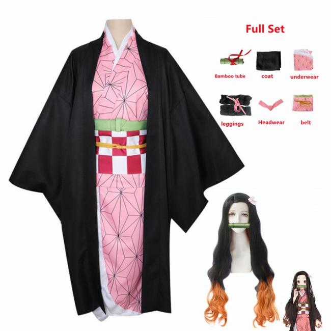 Adult Kids Demon Slayer Kimetsu No Yaiba Woman Anime Kimono Kamado Nezuko Cosplay Costume