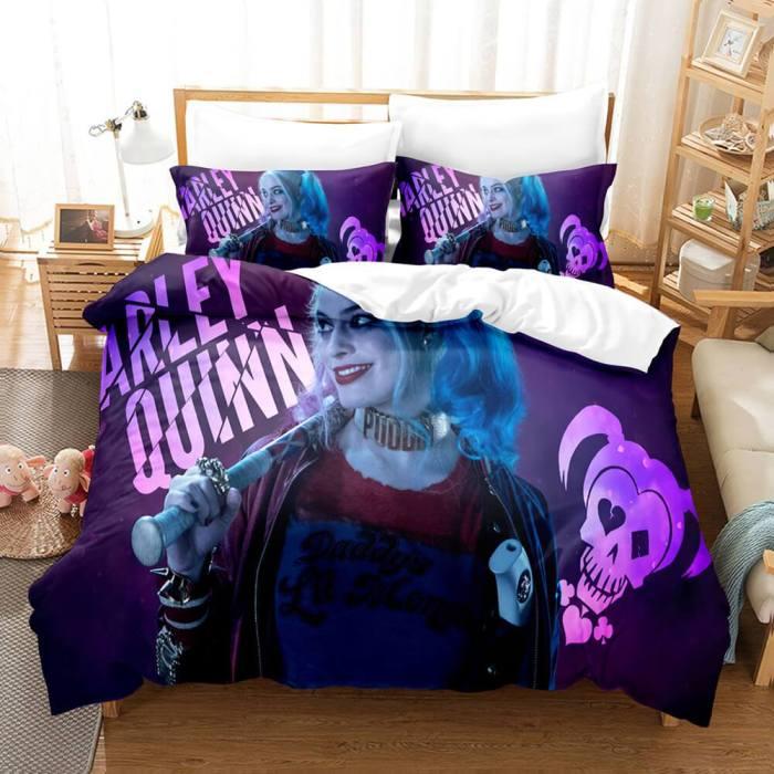 Joker Harley Quinn Cosplay 3 Piece Bedding Set Duvet Cover Bed Sheets