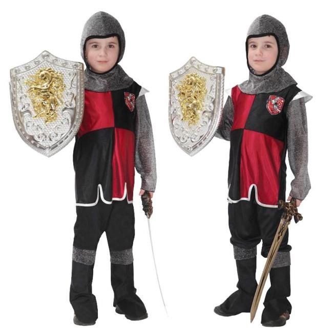 Halloween Medieval Roman Royal Knight Warrior With Cloak Cosplay Costume For Boy Girls Carnival European Soldier Hat