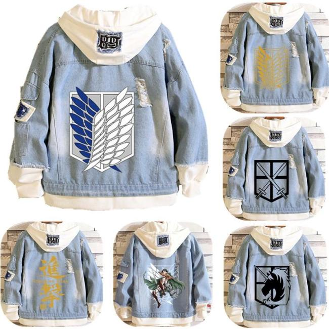 Attack On Titan Shingeki No Kyojin Hooded Coat Denim Jacket Scout Regiment Eren Jager Cosplay Costumes
