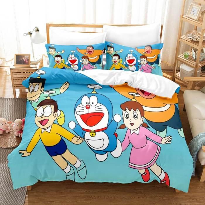 Doraemon Cosplay Bedding Set Comforter Bed Sheets Full Duvet Cover Set