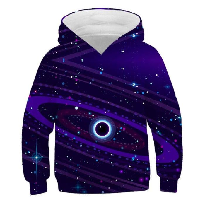 Children Black Hole Galaxy Serise Hoodies Hooded Boy Girl Hat 3D Sweatshirts Print Colorful Kids Fashion Pullovers Clothes Tops