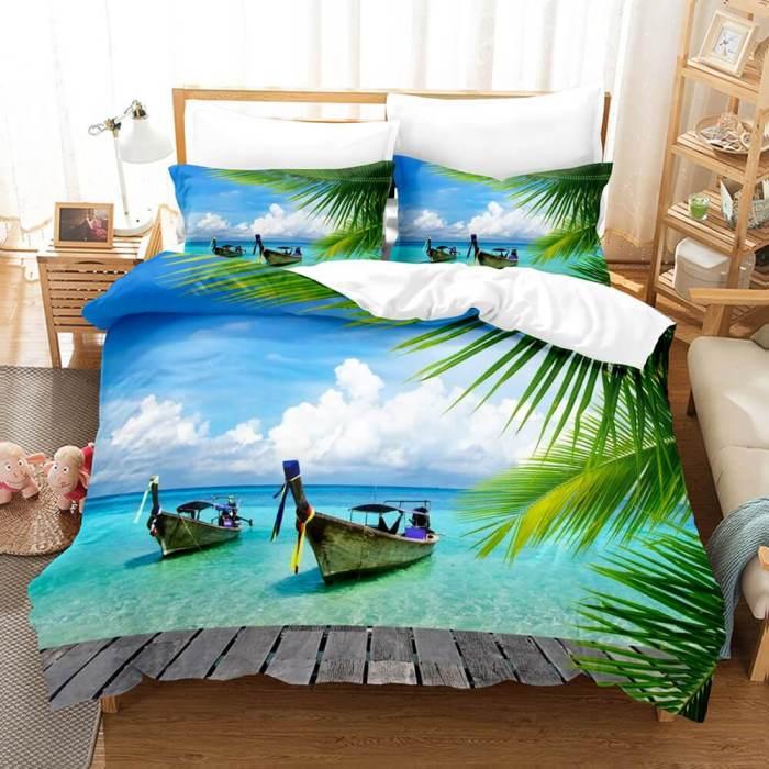 3-Piece Ocean Bedding Set Duvet Cover Set Blue Sea Starfish Bed Sheets