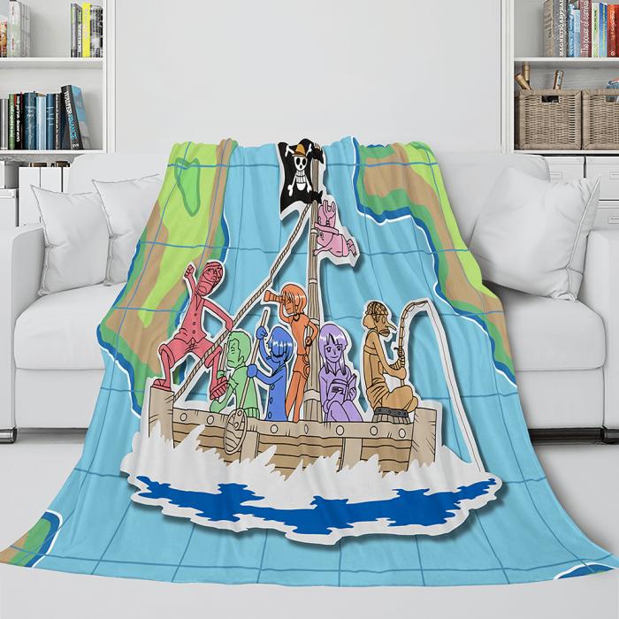 Anime One Piece Straw Hat Pirates Super Soft Flannel Throw Bed Blanket
