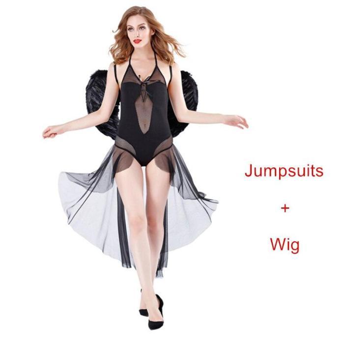 Halloween Sexy Costumes Women Cosplay Dress Fantasy Party Fancy Dress Adult White Black Angel Costume Wings Headwear