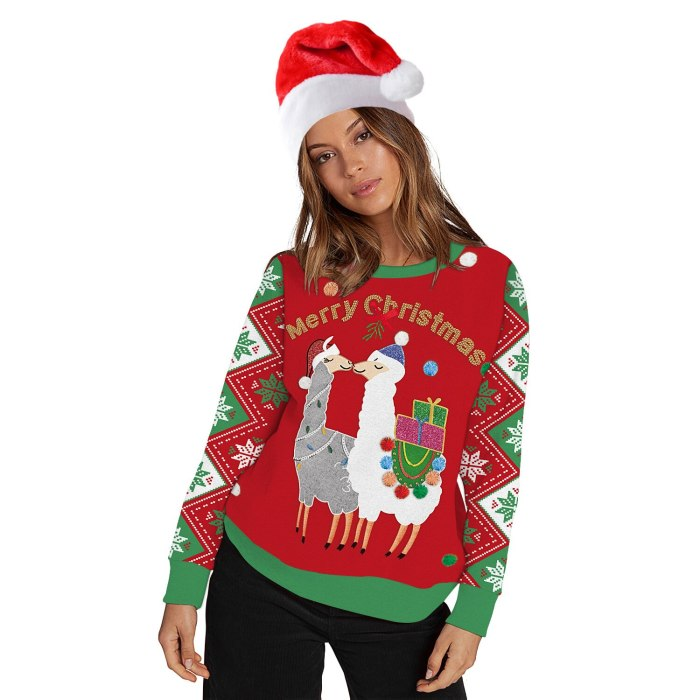Unisex Cute Animal 3D Print Ugly Christmas Sweater Couple Outfit Round Neck Pullover Sweater Men Women Winter Plus Size Clothing