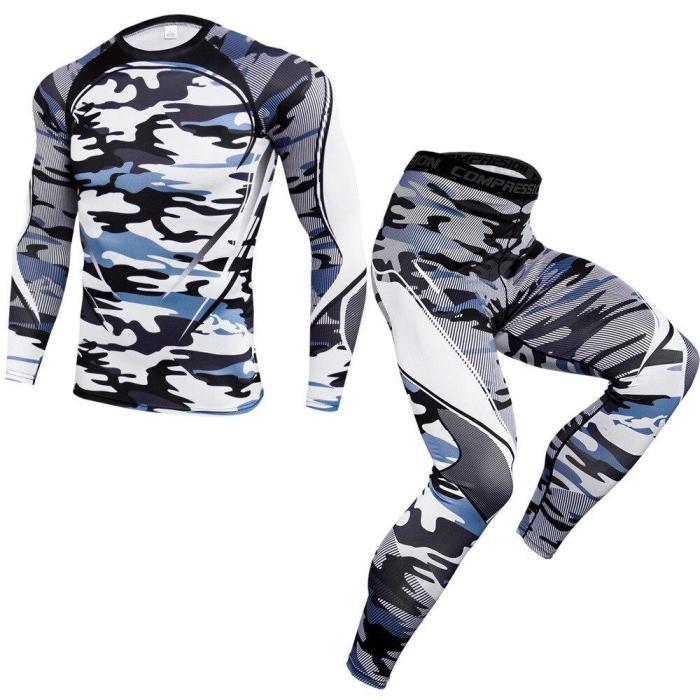 Sportswear Pants Male Gym Fitness Training Mma Tees Fashion Compression T-Shirt Leggings Set Men Running Sport Quick Dry