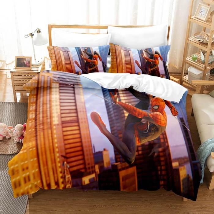 Spider-Man Cosplay Full Bedding Set Duvet Cover Comforter Bed Sheets