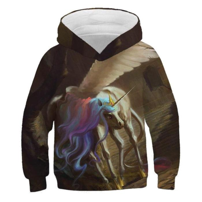 4-14Y Anime Unicorn Horse Hoodies Kids Printed Sweatshirts Boys Hooded Sweater 3D Colorful Children Pullover Tops Girls Outfits