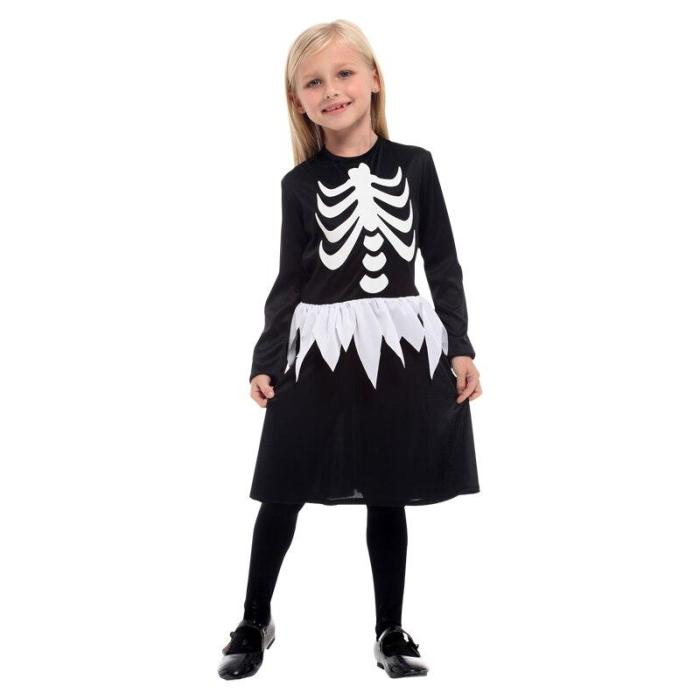 Halloween Children'S Day Skeleton Costumes Kids Skull Skeleton Monster Demon Ghost Scary Party Costume Dress Robe Dress
